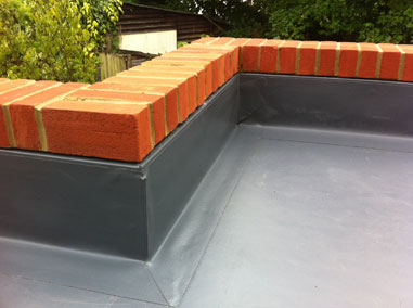Flat roofing example on a house